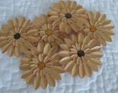 6 Handmade Brown Paper Scrapbook Flowers