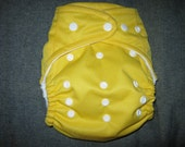 SassyCloth one size pocket diaper with yellow PUL. Made to order.