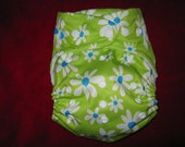 SassyCloth one size pocket diaper with lime daisy  PUL print. Made to order.
