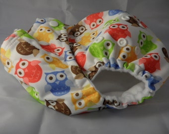 SassyCloth one size pocket diaper with owls PUL print. Ready to ship.