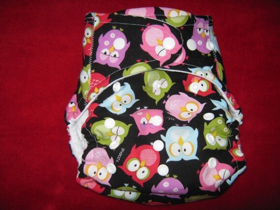 SassyCloth one size AIO pocket diaper with owls print. Made to order.
