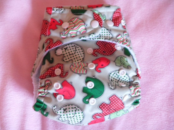 SassyCloth one size pocket diaper with red and green elephants  PUL print. Made to order.