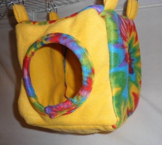 "8"" Cube Rainbow Tie-Dye on Yellow Fleece for Ferrets or Rats"