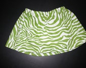 Green Zebra Print Skirt-READY TO SHIP- Size: 0-3 months