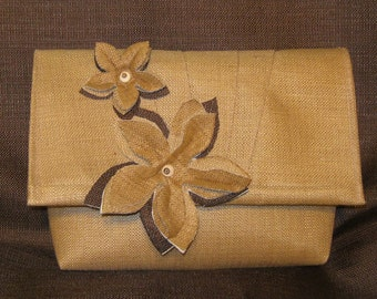 Upcycled Straw clutch or shoulderbag
