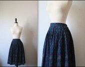 1970s skirt / vintage 70s / snowflake floral pleat skirt