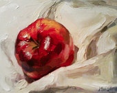 Red Apple. Original Oil Still Life Painting.
