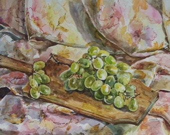 Original Watercolor Painting. 11.8'' x 16.5'' Still Life watercolor. Fruit watercolor. White grapes.