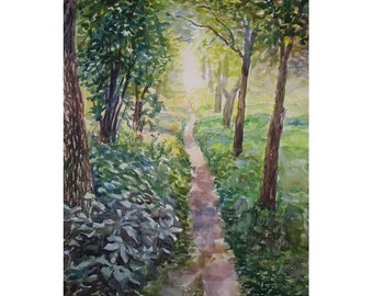 Watercolor Landscape Painting 22.8'' x 16.5'', Original Watercolor Landscape. Plein Air. Green footpath.