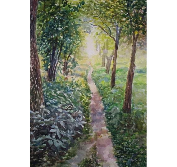 Watercolor Landscape Painting 22.8'' x 16.5'', Original Watercolor Landscape. Plein Air. Green footpath.