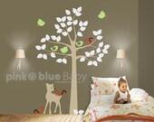 Tree Decal, Deer, Squirrel , Nursery Wall Decal, Kids Wall Decal, Sticker Decor