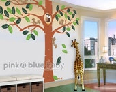 Wall Decals, Giant tree Decal, Giant tree with small animals,  Nursery Kids Wall Vinyl Decal