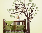 Wall Decal, 3 Monkeys On the Tree, Kids Wall Vinyl Decal Sticker