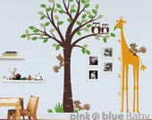 Wall Decal, Tree, Giraffe Growth Chart, Nursery Kids Removable Wall Vinyl Decal