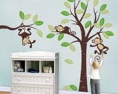 Monkey Tree Wall decal : 3 Monkeys and Tree - Nursery Kids Wall Decal