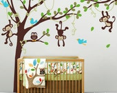 Tall Tree Decal, Vines, Monkeys, Owl  and Birds - Nursery Kids Wall Vinyl Decal Sticker decor
