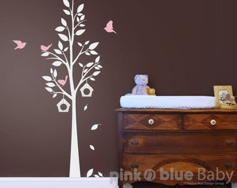The Birds and Tree - : Nursery Kids Removable Wall Vinyl Decal