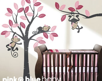 Wall Decal Girl monkeys on the tree and long branch - Girl Nursery Wall Decor