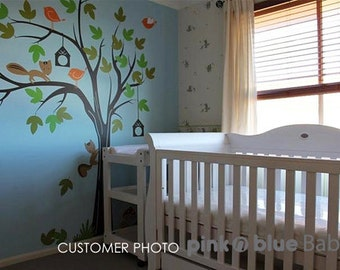 Children Wall Decal, Birds and Bird Houses with Tree - Nursery Decal