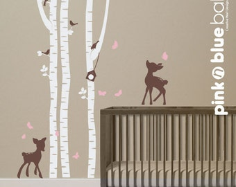 Wall Decals Birch Trees with fawns :  Nursery Wall Decal