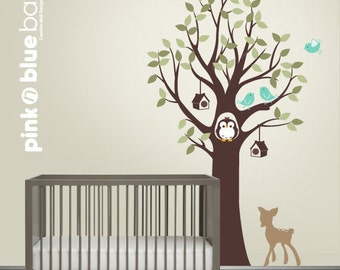 Owl tree birds, birdhouses and fawn - Nursery Wall Decal , Owl Tree Decal