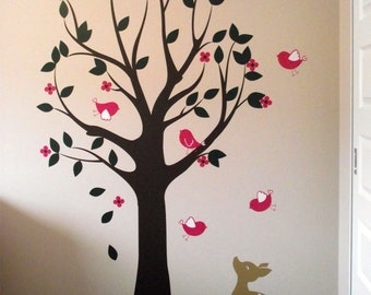 Wall Decals, Tree Decal, Birds, Deer, Nursery Wall Decal, Kids Wall Decal Sticker