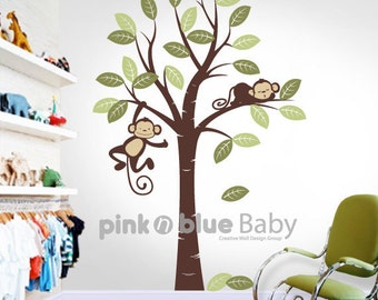 Wall Decal,  Two Monkeys and Tree - : Nursery Kids Removable Wall Vinyl Decal - All Kids love this Wall sticker