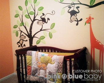 Nursery Wall Decal  - Monkeys and giraffe - Kids Wall Decal decor