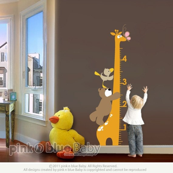 Wall Decals, Giraffe Growth Chart , Nursery Kids Removable Wall Vinyl Decal