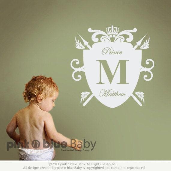 Elegant script Custom name & Royal Crest frame wall decal : Custom Order