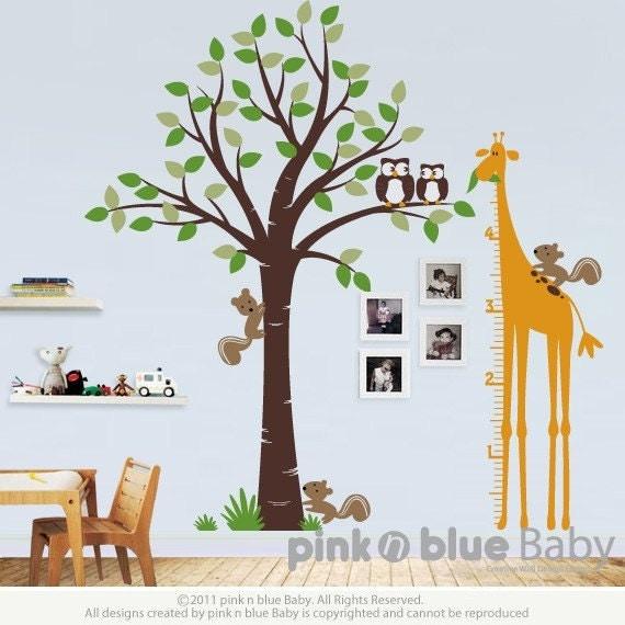 Tree with Giraffe Growth Chart Nursery Kids Wall Decal