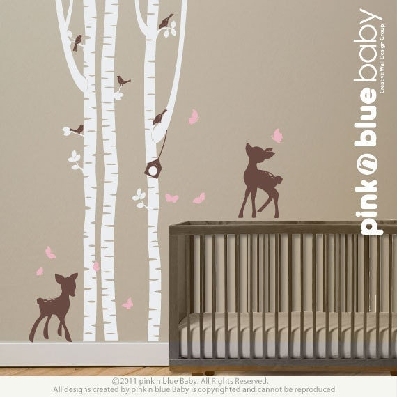 Wall Decals Birch Trees With Fawns Nursery By Pinknbluebaby