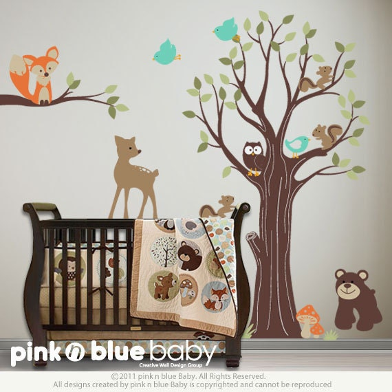Adorable Animals Wall Decal - Nursery wall decals animals