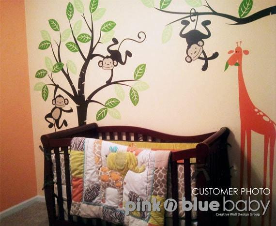 Nursery Wall Decal  - Monkeys and giraffe - Kids Wall Decal decor