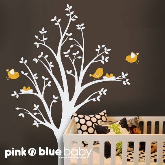 Two nests on the Tree ,  Nursery Wall Decal Vinyl, Kids Wall Decals, Stickers