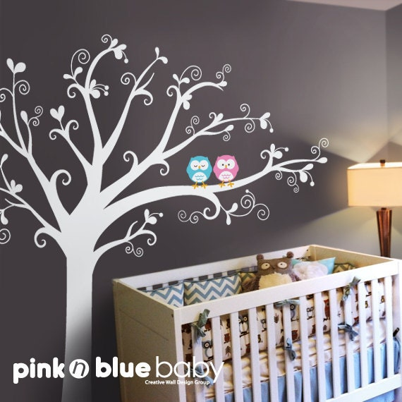 Wall decals baby nursery decor owls lovely by for Baby nursery wall mural