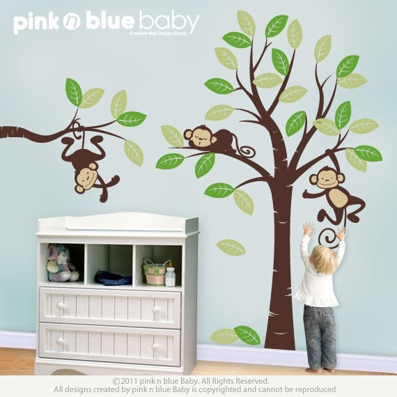 Superbe Wall Decals Three Monkeys And Tree Nursery Wall Décor