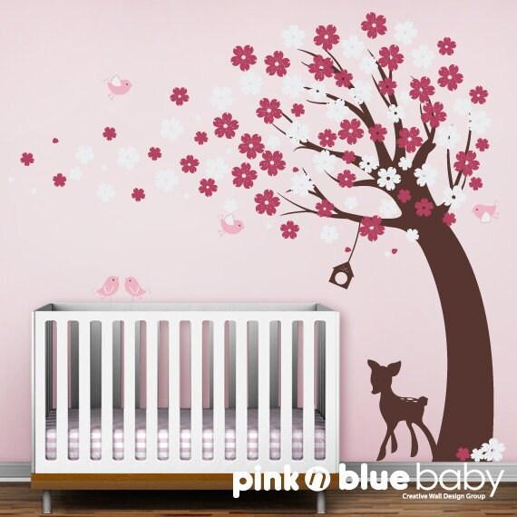 Cherry Blossom Tree, Fawn, Birds :  Nursery Kids Removable Wall Vinyl Decal