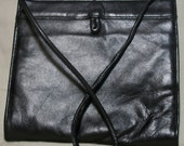 Clearance--Vintage Black Leather Purse with a Spring Band Closure--40% OFF