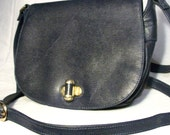 Clearance--Vintage Genuine Leather Navy Blue Purse with Adjustable Strap--40% OFF