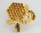 Vintage Honeycomb and Bees Brooch