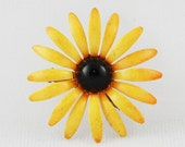 Vintage Yellow Enamel Flower Brooch