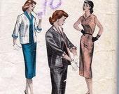 Bust 32-1950's Teen Age Sheath Dress and Box Jacket  Butterick 6821  Size 14