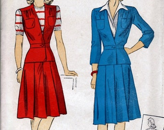 Bust 34-1942 Misses' and Women's Two-Piece Dress or Jacket and Skirt  Du Barry 5436  Size 16