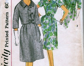 1960's Misses' One-Piece Dress and Jacket  Simplicity 3601  Size 16  Bust 36  Factory Folded