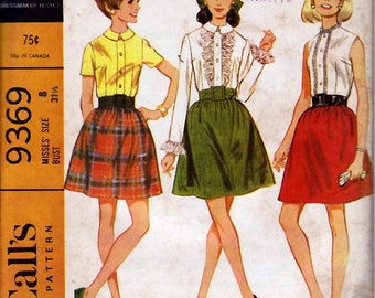 1968 Misses' Blouse and Skirt  McCall's 9369  Size 8  Bust 31 1/2