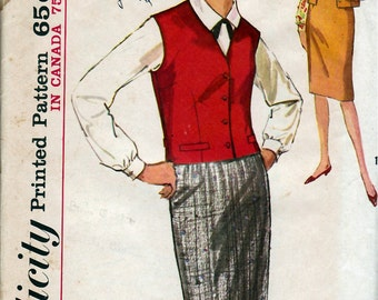 1960's Misses' Blouse, Skirt and Weskit  Simplicity 5118  Size 16  Bust 36