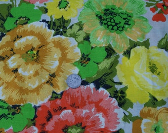 "2 Yds 33"" 48"" Wide 1960's Home Decor Cotton Fabric"