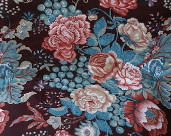 """Vtg 3 Yds 42"""" Wide 1960's Chocoate Brown Home Decor Flowered Cotton Canvas Fabric"""