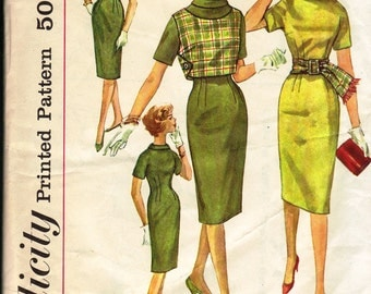 Bust 32-1960's Teen Dress, Reversible Top and Sash  Simplicity 3541  Size 12